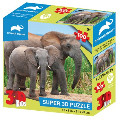 PUZZLE 3D - SLONOVI 100 KOM 31x23cm ANIMAL PLANET